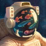 My avatar: an astronaut in a spacesuit with a school of fish and the moon visible in the reflection on their visor